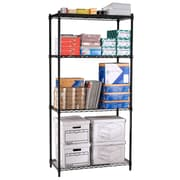 "OFM Steel 72""(H) x 36""(W) x 18""(D) Wire Shelving, Black"