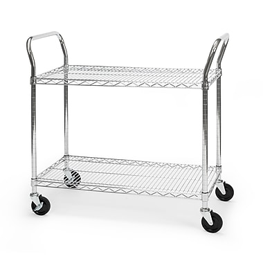 OFM 36in. H x 18in. W Heavy Duty Wire Shelf Mobile Cart With Industrial Caster, Chrome