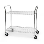OFM 36 H x 18 W Heavy Duty Wire Shelf Mobile Cart With Industrial Caster, Chrome