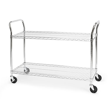 OFM 48in. H x 18in. W Heavy Duty Wire Shelf Mobile Cart With Industrial Caster, Chrome