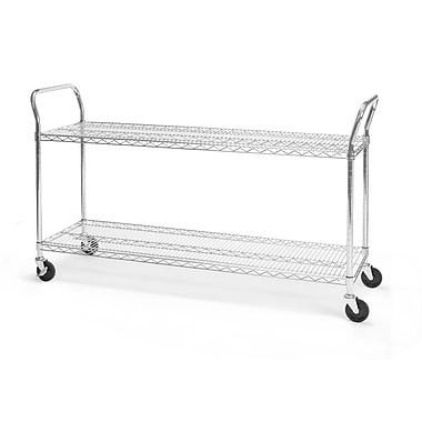 OFM 60in. H x 18in. W Heavy Duty Wire Shelf Mobile Cart With Industrial Caster, Chrome