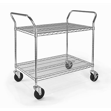 OFM 36in. H x 24in. W Heavy Duty Wire Shelf Mobile Cart With Industrial Caster, Chrome