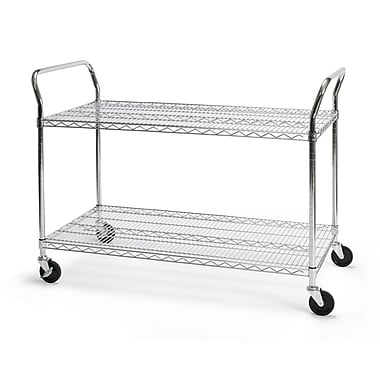 OFM 48in. H x 24in. W Heavy Duty Wire Shelf Mobile Cart With Industrial Caster, Chrome
