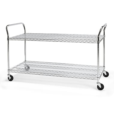 OFM 60in. W x 24in. H Heavy Duty Wire Shelf Mobile Cart With Industrial Caster, Chrome