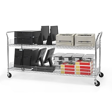 OFM 72in. H x 24in. W Heavy Duty Wire Shelf Mobile Cart With Industrial Caster, Chrome