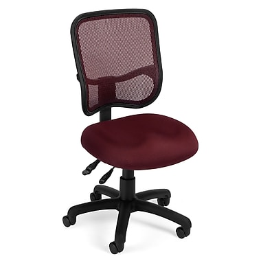 OFM Mesh Comfort Series Fabric Armless Ergonomic Task Chair, Wine