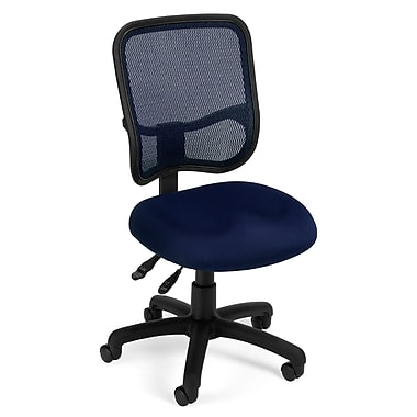 OFM Mesh Comfort Series Fabric Armless Ergonomic Task Chair, Navy