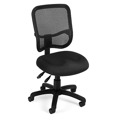 OFM Mesh Comfort Series Fabric Armless Ergonomic Task Chair, Black