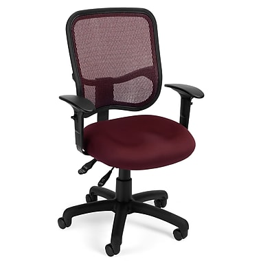 OFM 845123011683 Mesh Comfort Series Ergonomic Fabric Task Chair with Adjustable Arms, Wine