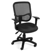 OFM 845123011706 Mesh Comfort Series Ergonomic Fabric Task Chair with Adjustable Arms, Black