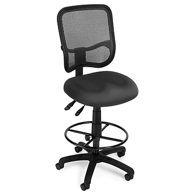 OFM Mesh Comfort Series Fabric Ergonomic Task Stool, Gray