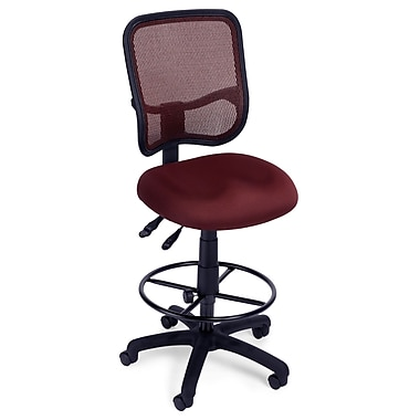 OFM Mesh Comfort Series Fabric Ergonomic Task Stool, Wine
