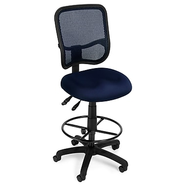 OFM Mesh Comfort Series Fabric Ergonomic Task Stool, Navy