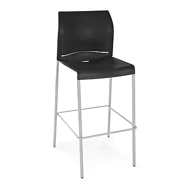 OFM Plastic Cafe Height Stack Chair, Black