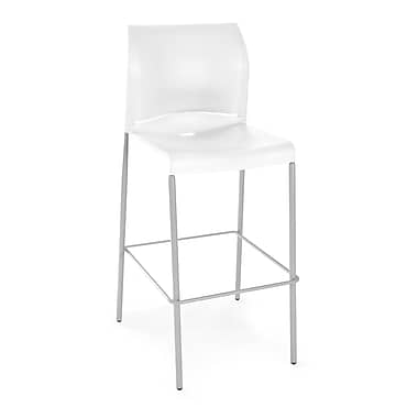 OFM Plastic Cafe Height Stack Chair, White