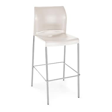 OFM Plastic Cafe Height Stack Chair, Antique White