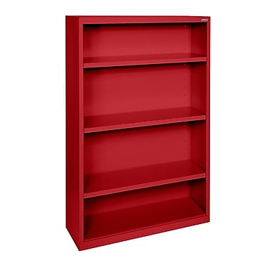 Sandusky® Elite 52in.H x 34in.W x 12in.D Steel Fully Adjustable Bookcase, Red