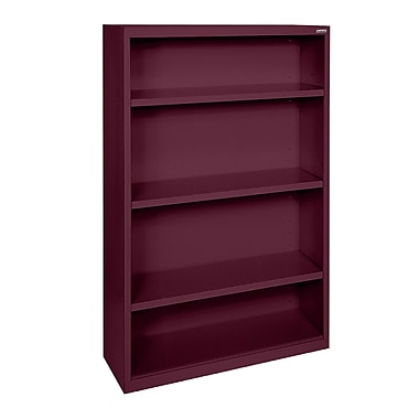 Sandusky® Elite 52in.H x 34in.W x 12in.D Steel Fully Adjustable Bookcase, Burgundy