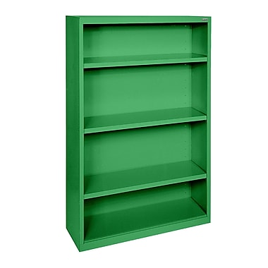 Sandusky® Elite 52in.H x 34in.W x 12in.D Steel Fully Adjustable Bookcase, Primary Green