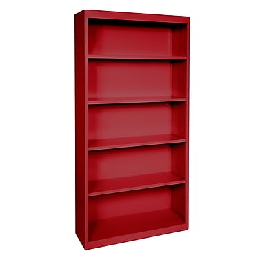 Sandusky® Elite 72in.H x 34in.W x 12in.D Steel Fully Adjustable Bookcase, Red