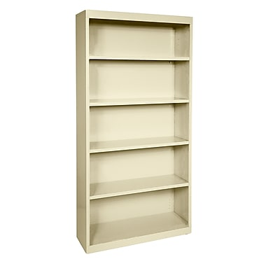 Sandusky® Elite 72in.H x 34in.W x 12in.D Steel Fully Adjustable Bookcase, Putty