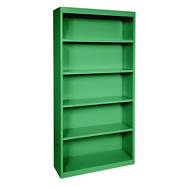 Sandusky® Elite 72in.H x 34in.W x 12in.D Steel Fully Adjustable Bookcase, Primary Green
