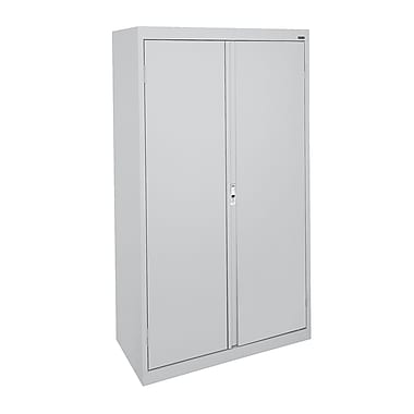 Sandusky® System Series 64in.H x 36in.W x 18in.D Steel Double Door Storage Cabinet, Dove Gray