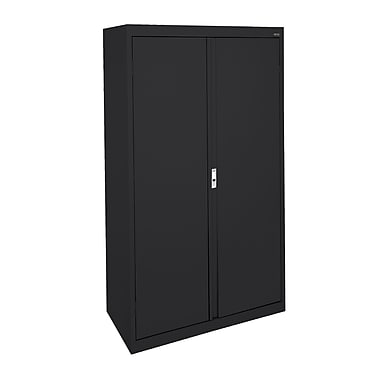 Sandusky® System Series 64in.H x 30in.W x 18in.D Steel Double Door Storage Cabinet, Black