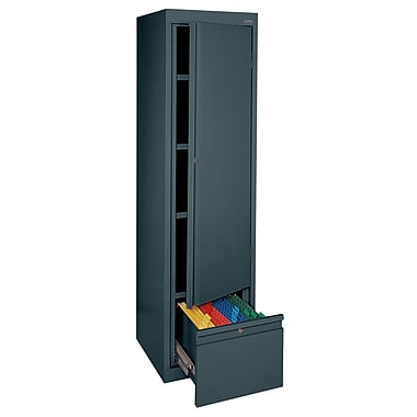 Sandusky® System Series 64in.H x 17in.W x 18in.D Steel Single Door Storage Cabinet, Charcoal