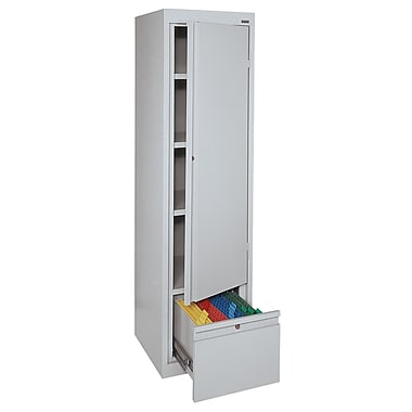 Sandusky® System Series 64in.H x 17in.W x 18in.D Steel Single Door Storage Cabinet, Dove Gray