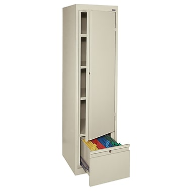 Sandusky® 3 Adjustable Shelves Storage Cabinet with File Drawer, Putty