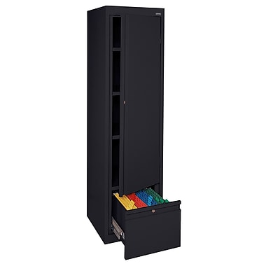 Sandusky® 3 Adjustable Shelves Storage Cabinet with File Drawer, Black
