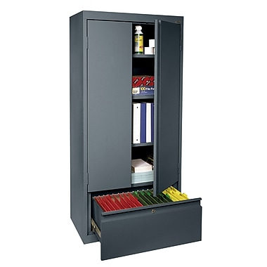 Sandusky® 2 Adjustable Shelves Storage Cabinet with File Drawer, Charcoal