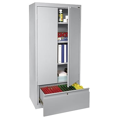 Sandusky® 2 Adjustable Shelves Storage Cabinet with File Drawer, Dove Gray