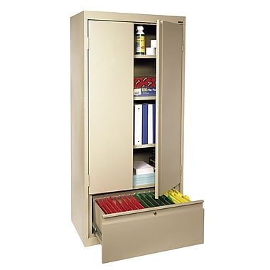 Sandusky® 2 Adjustable Shelves Storage Cabinet with File Drawer, Putty