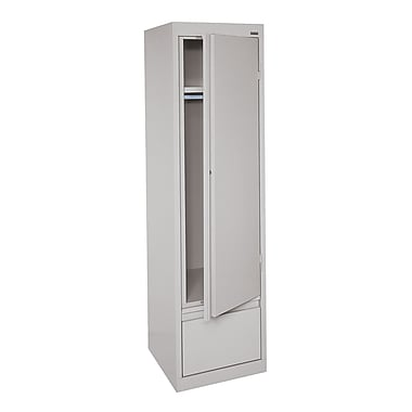 Sandusky® System Series 64in.H x 17in.W x 18in.D Steel Single Door Wardrobe Cabinet, Dove Gray