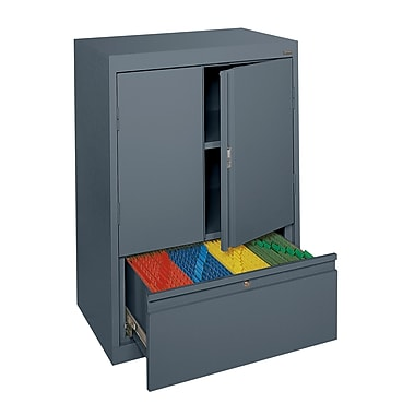 Sandusky® Counter-Height Storage Cabinet with File Drawer, Charcoal