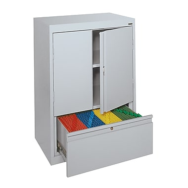 Sandusky® Counter-Height Storage Cabinet with File Drawer, Dove Gray