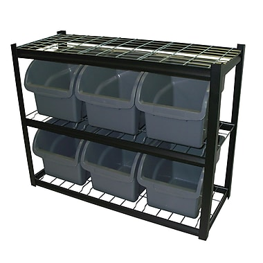 Sandusky® 33in.H x 42in.W x 16in.D Steel 6 Extra Large Bin Shelving Unit, Black