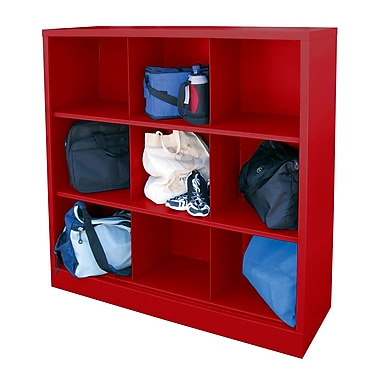 Sandusky® 52in.H x 46in.W x 18in.D Steel Cubby Storage Organizer, 9 Compartment,  Red