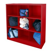 "Sandusky® 52""H x 46""W x 18""D Steel Cubby Storage Organizer, 9 Compartment,  Red"
