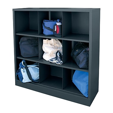 Sandusky® 52in.H x 46in.W x 18in.D Steel Cubby Storage Organizer, 9 Compartment,  Charcoal