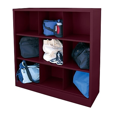 Sandusky® 52in.H x 46in.W x 18in.D Steel Cubby Storage Organizer, 9 Compartment,  Burgundy
