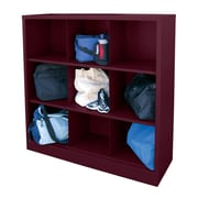 "Sandusky® 52""H x 46""W x 18""D Steel Cubby Storage Organizer, 9 Compartment,  Burgundy"