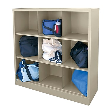 Sandusky® 52in.H x 46in.W x 18in.D Steel Cubby Storage Organizer, 9 Compartment,  Putty