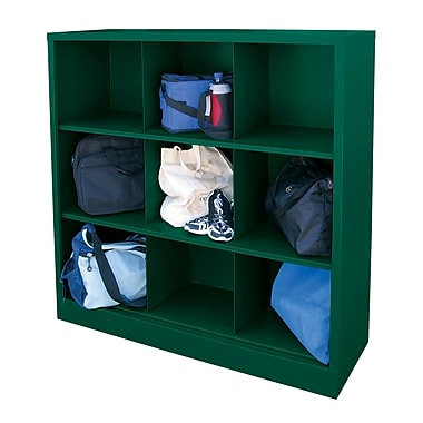 Sandusky® 52in.H x 46in.W x 18in.D Steel Cubby Storage Organizer, 9 Compartment,  Forest Green