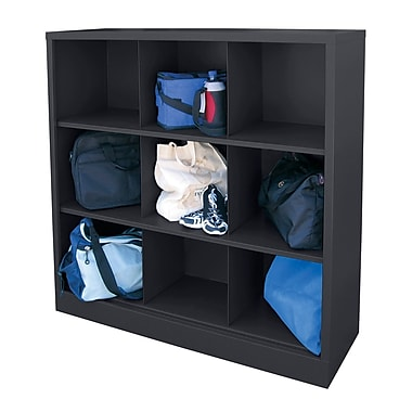 Sandusky® 52in.H x 46in.W x 18in.D Steel Cubby Storage Organizer, 9 Compartment,  Black