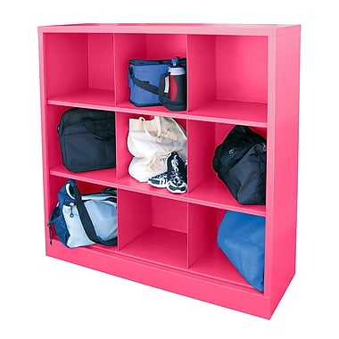 Sandusky® 52in.H x 46in.W x 18in.D Steel Cubby Storage Organizer, 9 Compartment,  Pink