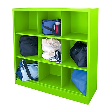 Sandusky® 52in.H x 46in.W x 18in.D Steel Cubby Storage Organizer, 9 Compartment,  Electric Green