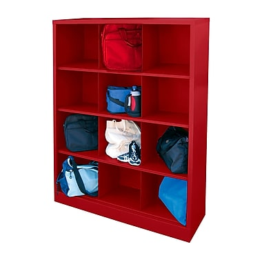 Sandusky® 66in.H x 46in.W x 18in.D Steel Cubby Storage Organizer, 12 Compartment, Red